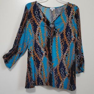 Avenue Chain Link Navy Blue Blouse 2X